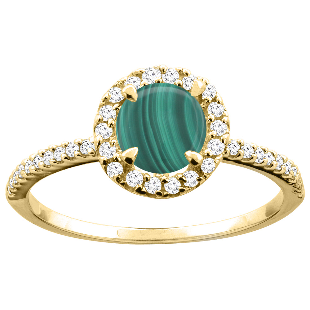 14K Gold Natural Malachite Ring Round 6mm Diamond Accents, sizes 5 - 10