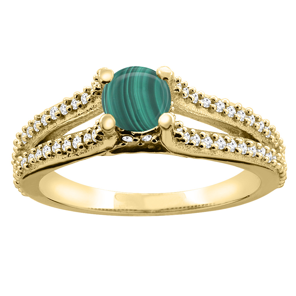 14K Yellow Gold Natural Malachite Engagement Split Shank Ring Round 5mm Diamond Accents, sizes 5 - 10