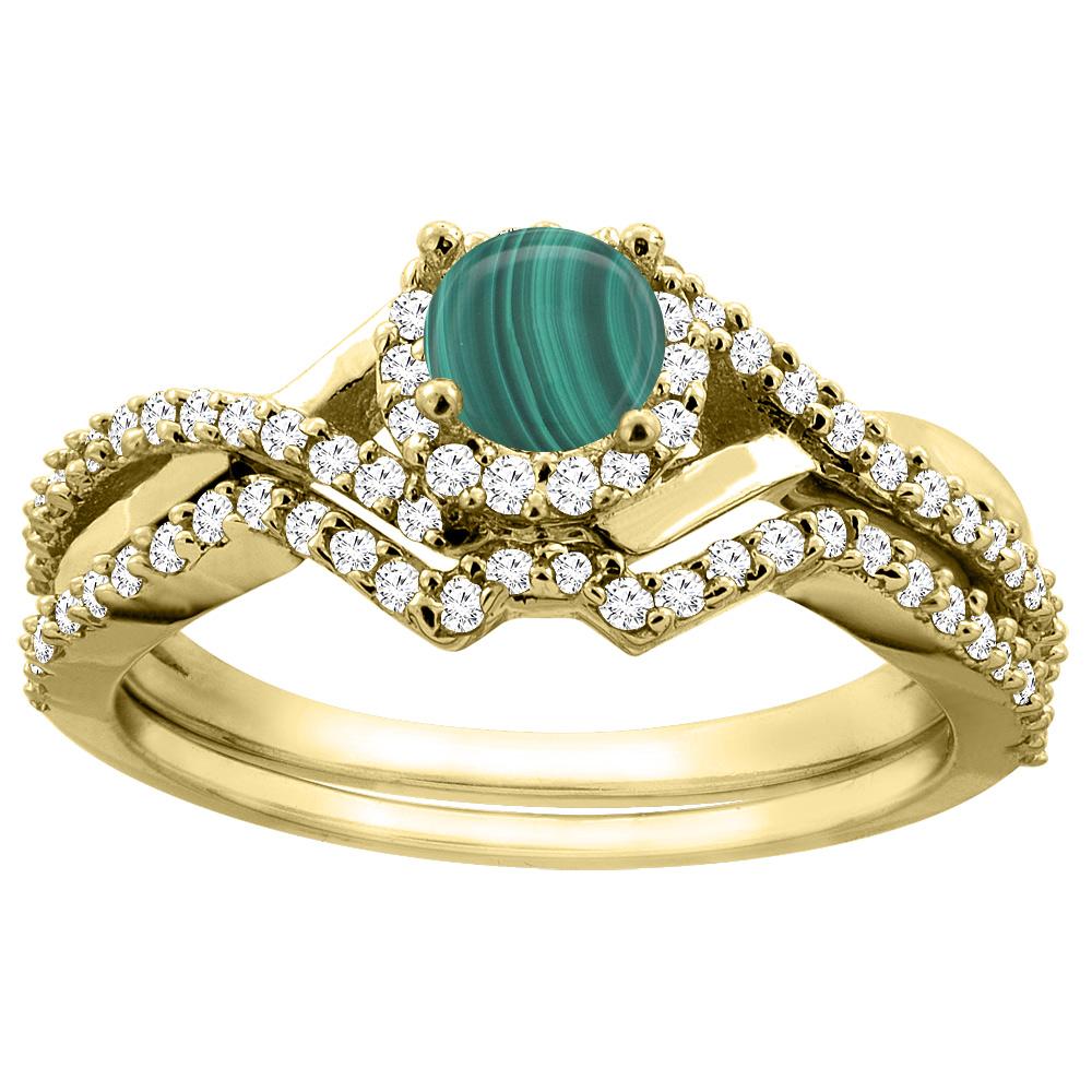 14K Gold Natural Malachite 2-piece Bridal Ring Set Round 5mm, sizes 5 - 10