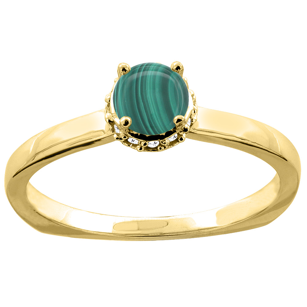 14K Yellow Gold Natural Malachite Solitaire Engagement Ring Round 4mm Diamond Accents, size 10