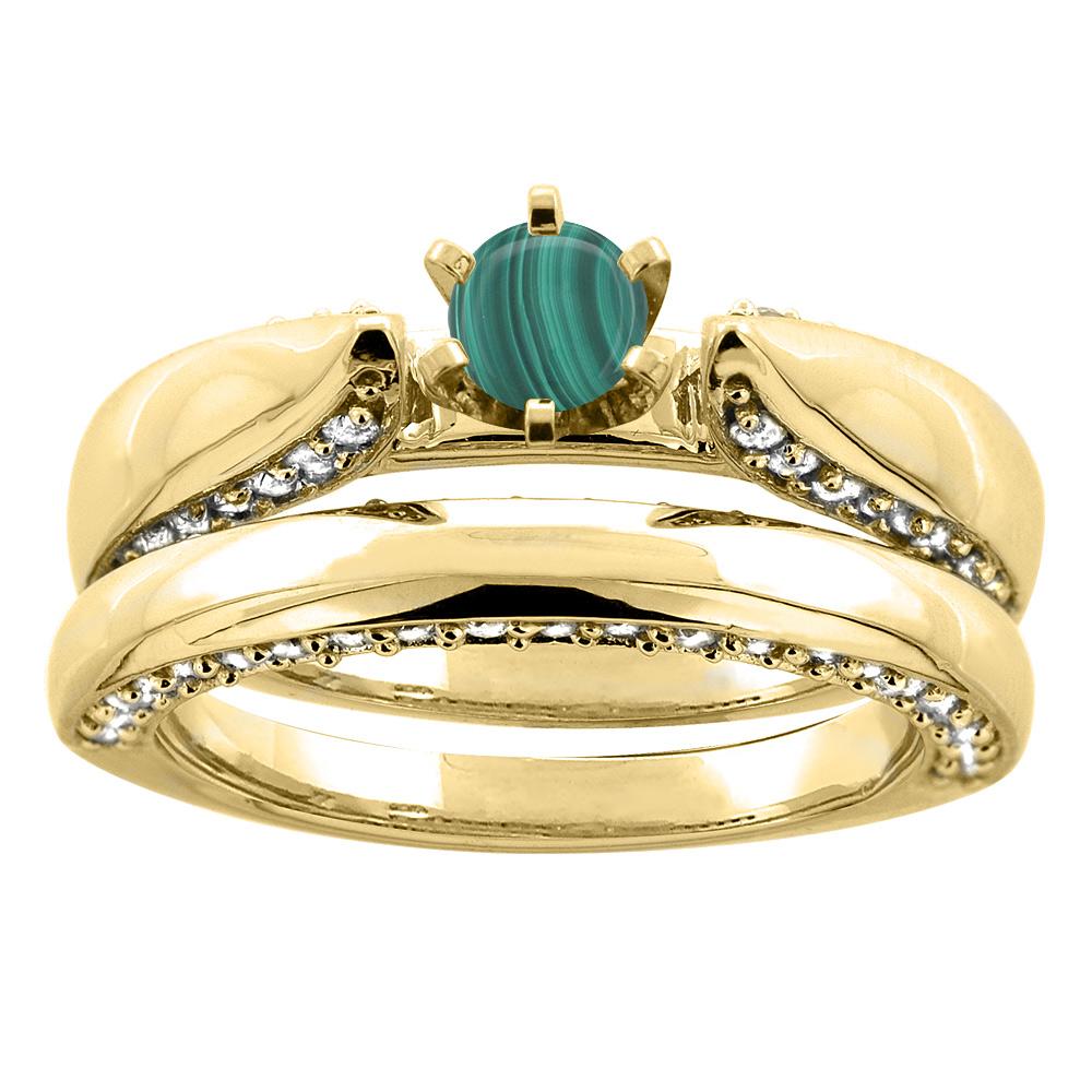14K Yellow Gold Natural Malachite 2-piece Bridal Ring Set Diamond Accents Round 5mm, sizes 5 - 10