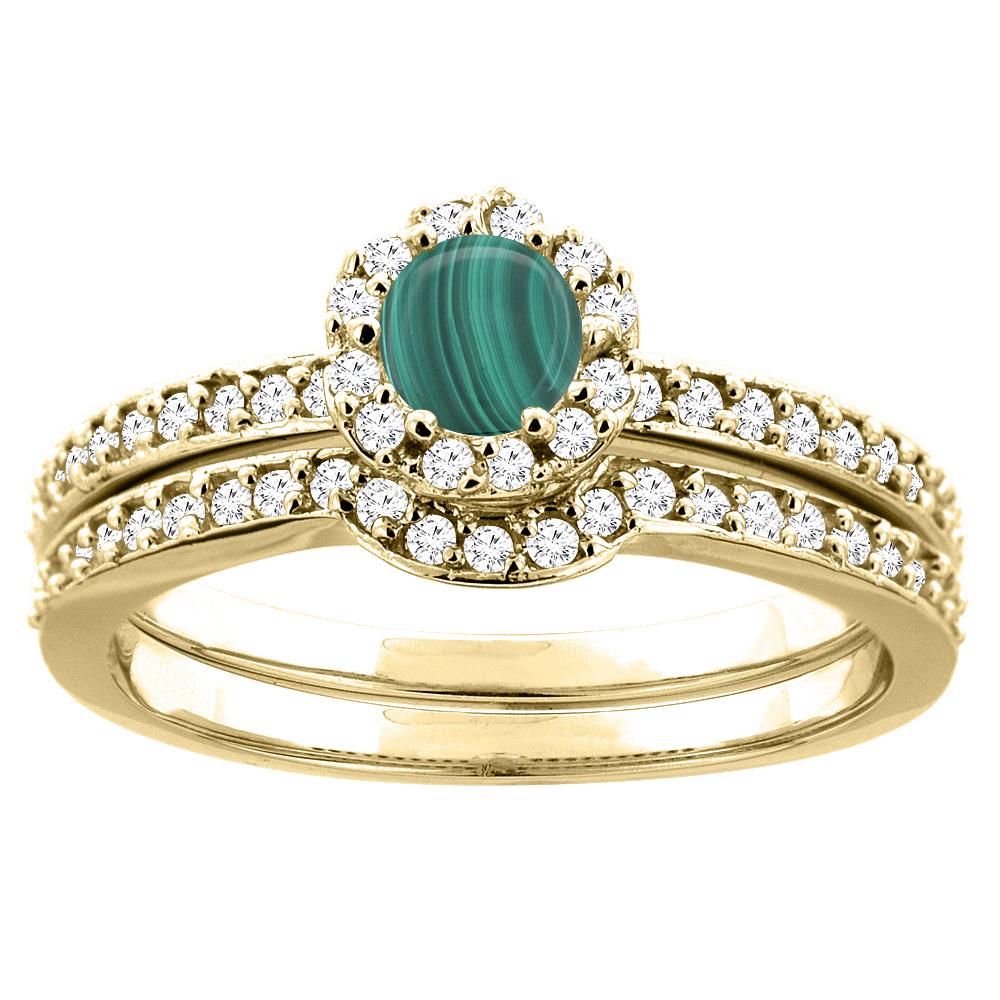 14K Yellow Gold Natural Malachite 2-pc Bridal Ring Set Diamond Accent Round 4mm, sizes 5 - 10