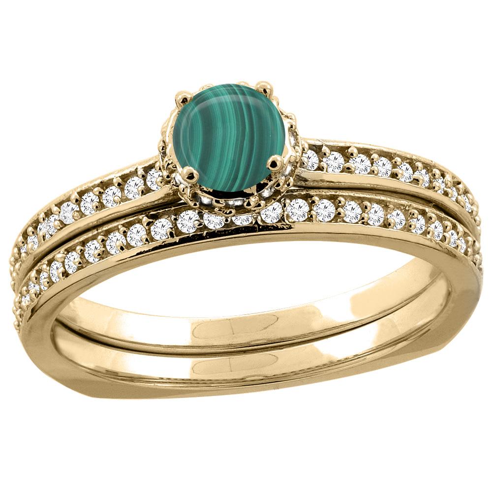 14K Yellow Gold Diamond Natural Malachite 2-pc Bridal Ring Set Round 4mm, sizes 5 - 10