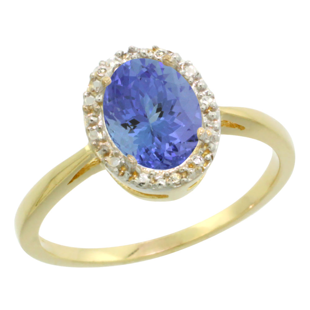 14K Yellow Gold Natural Tanzanite Diamond Halo Ring Oval 8X6mm, sizes 5 10