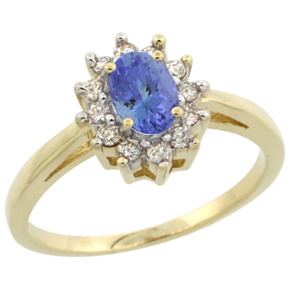 14K Yellow Gold Natural Tanzanite Flower Diamond Halo Ring Oval 6x4 mm, sizes 5 10