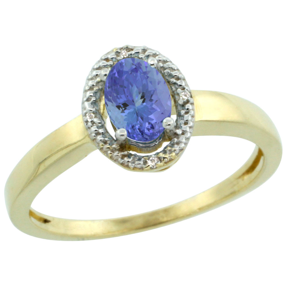 10K Yellow Gold Diamond Halo Natural Tanzanite Engagement Ring Oval 6X4 mm, sizes 5-10