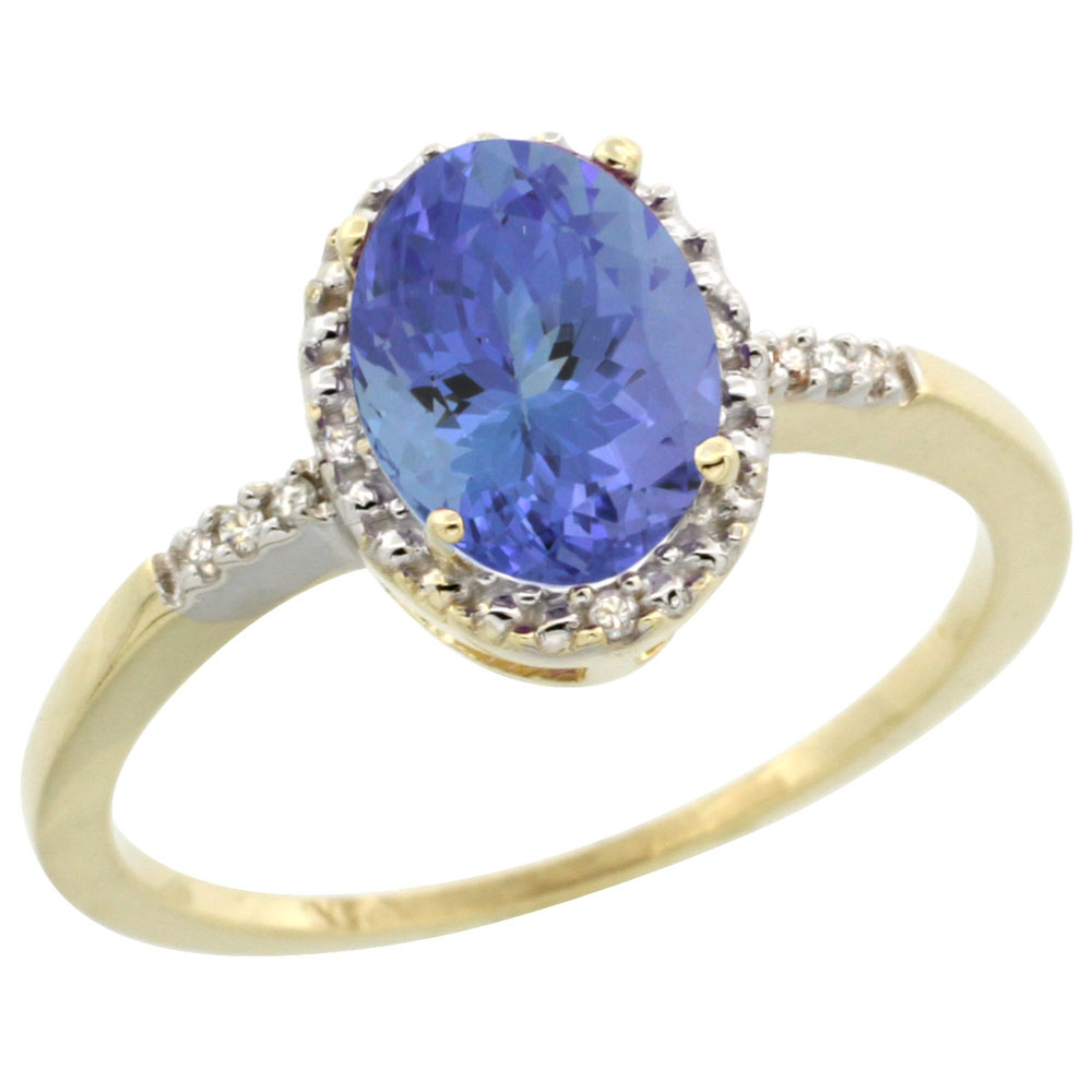 10K Yellow Gold Diamond Natural Tanzanite Ring Oval 8x6mm, sizes 5-10
