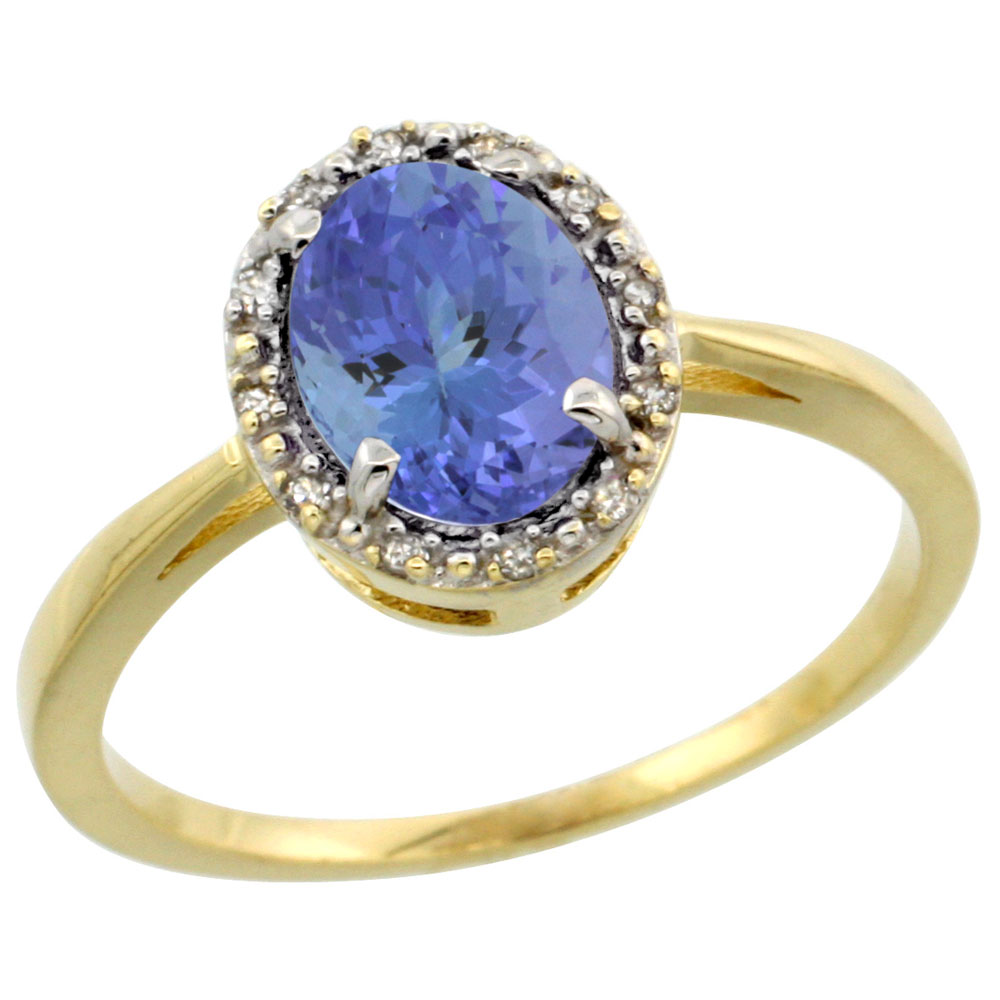 10k Yellow Gold Natural Tanzanite Ring Oval 8x6 mm Diamond Halo, sizes 5-10