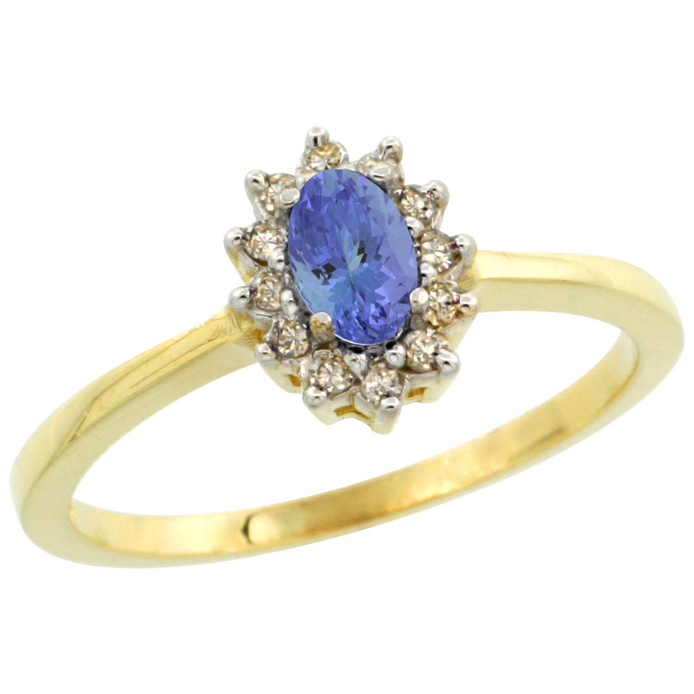 10k Yellow Gold Natural Tanzanite Ring Oval 5x3mm Diamond Halo, sizes 5-10