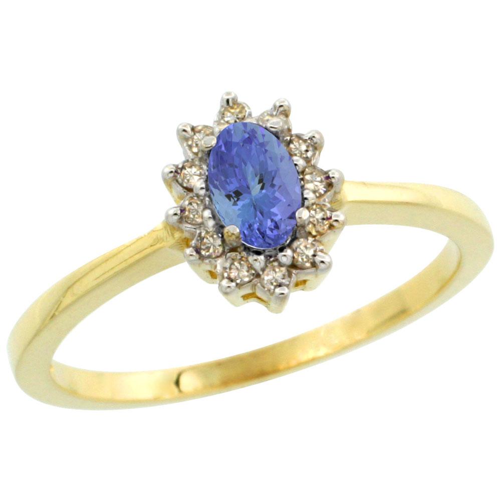14K Yellow Gold Natural Tanzanite Ring Oval 5x3mm Diamond Halo, sizes 5-10