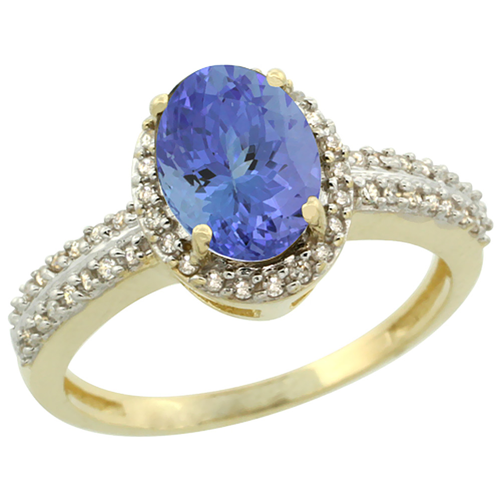 14K Yellow Gold Natural Tanzanite Ring Oval 8x6mm Diamond Halo, sizes 5-10
