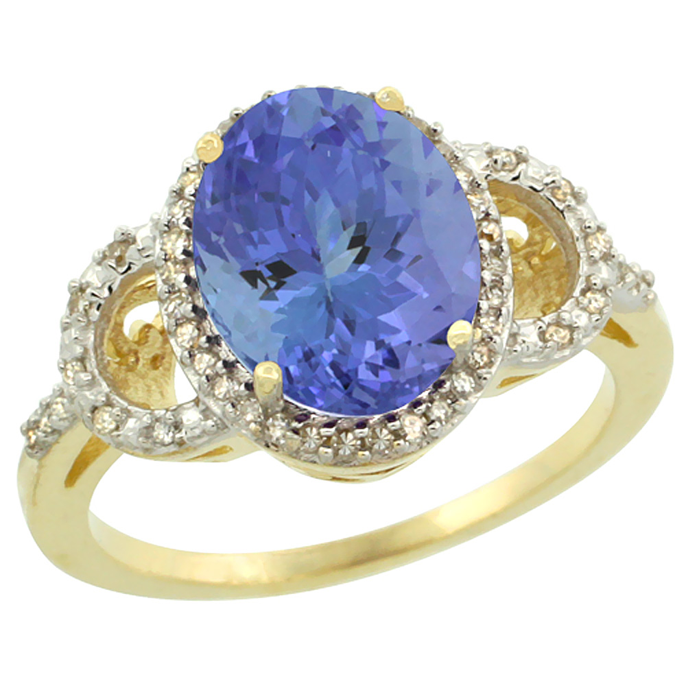 14K Yellow Gold Diamond Natural Tanzanite Engagement Ring Oval 10x8mm, sizes 5-10