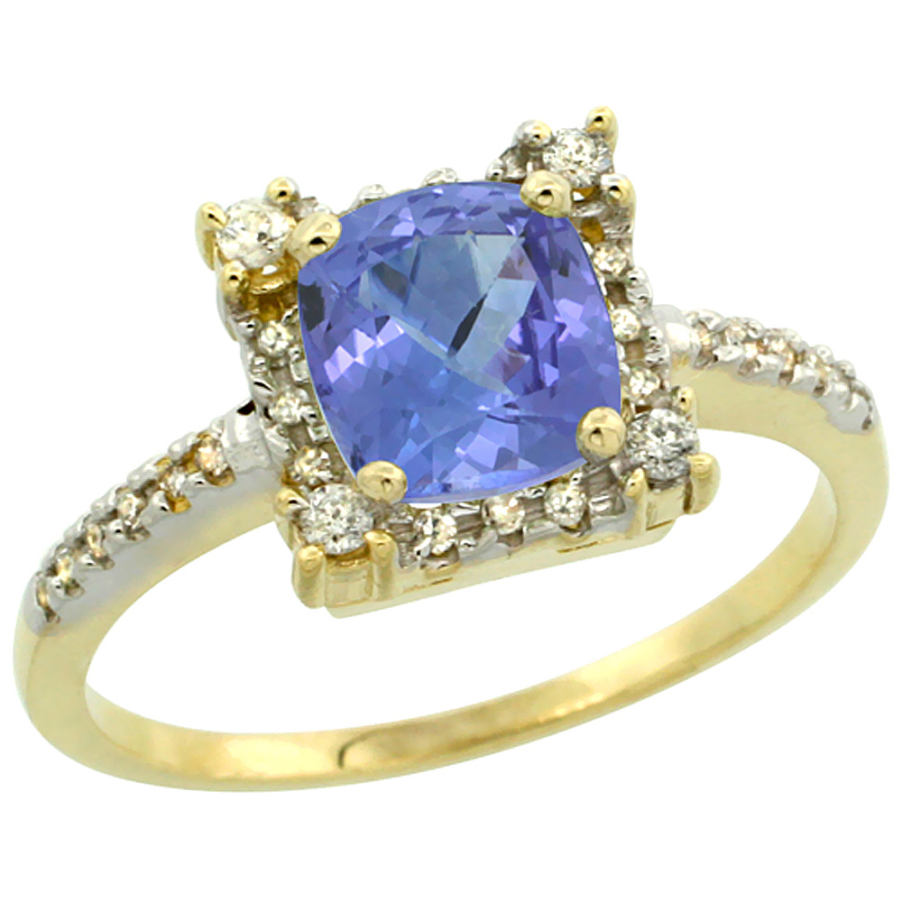 14K Yellow Gold Natural Tanzanite Ring Cushion-cut 6x6mm Diamond Halo, sizes 5-10