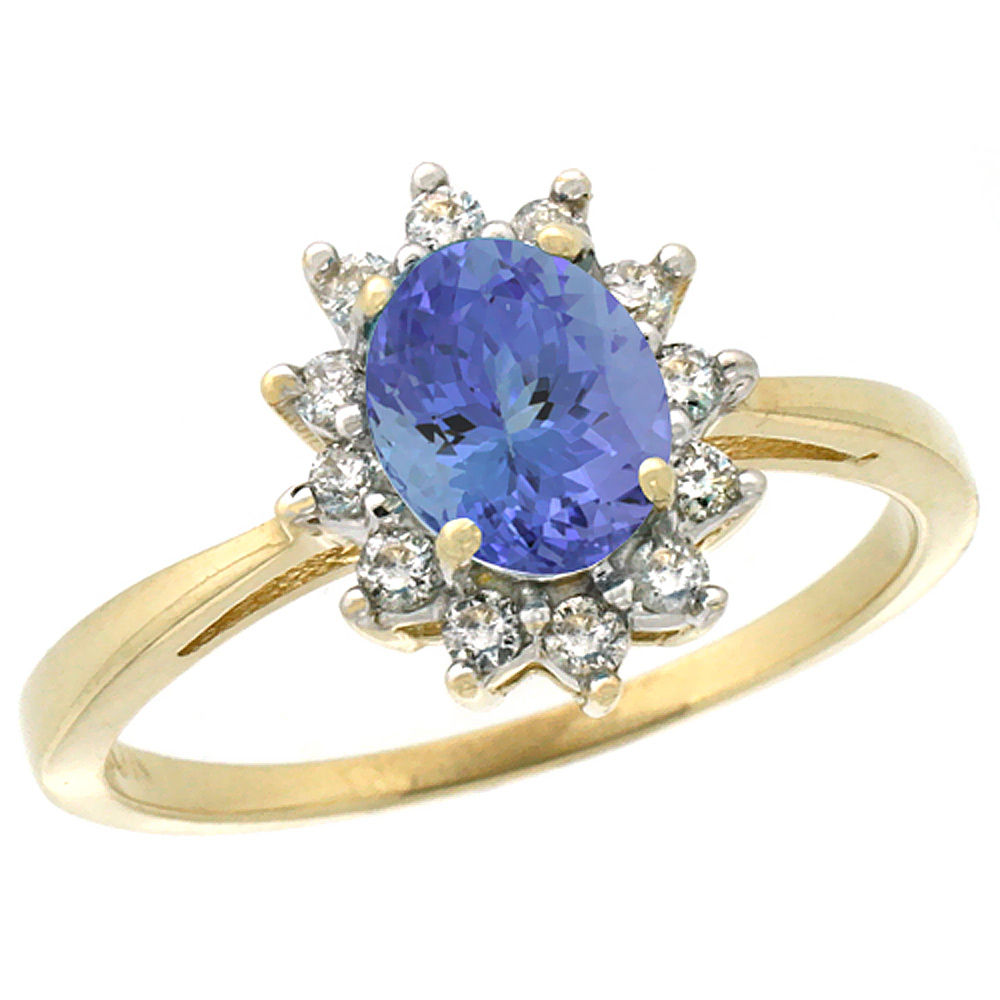 10k Yellow Gold Natural Tanzanite Engagement Ring Oval 7x5mm Diamond Halo, sizes 5-10