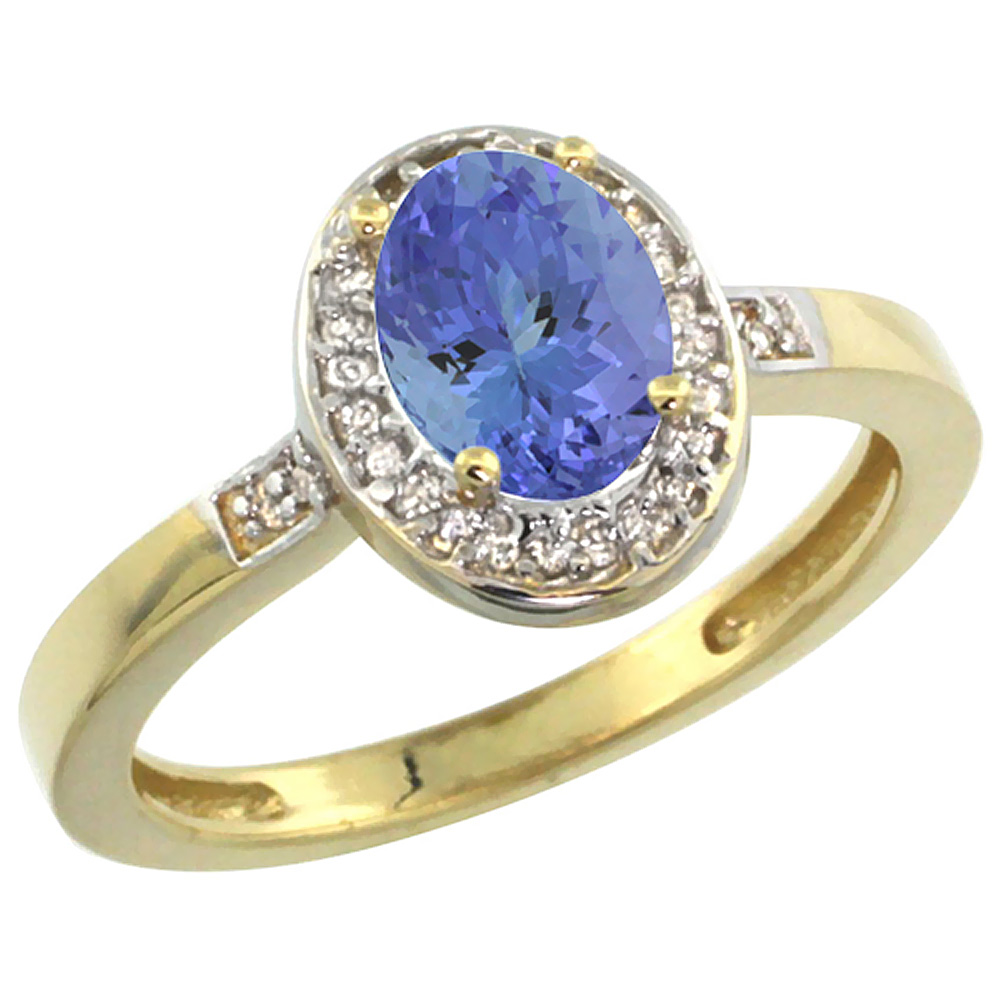 14K Yellow Gold Diamond Natural Tanzanite Engagement Ring Oval 7x5mm, sizes 5-10