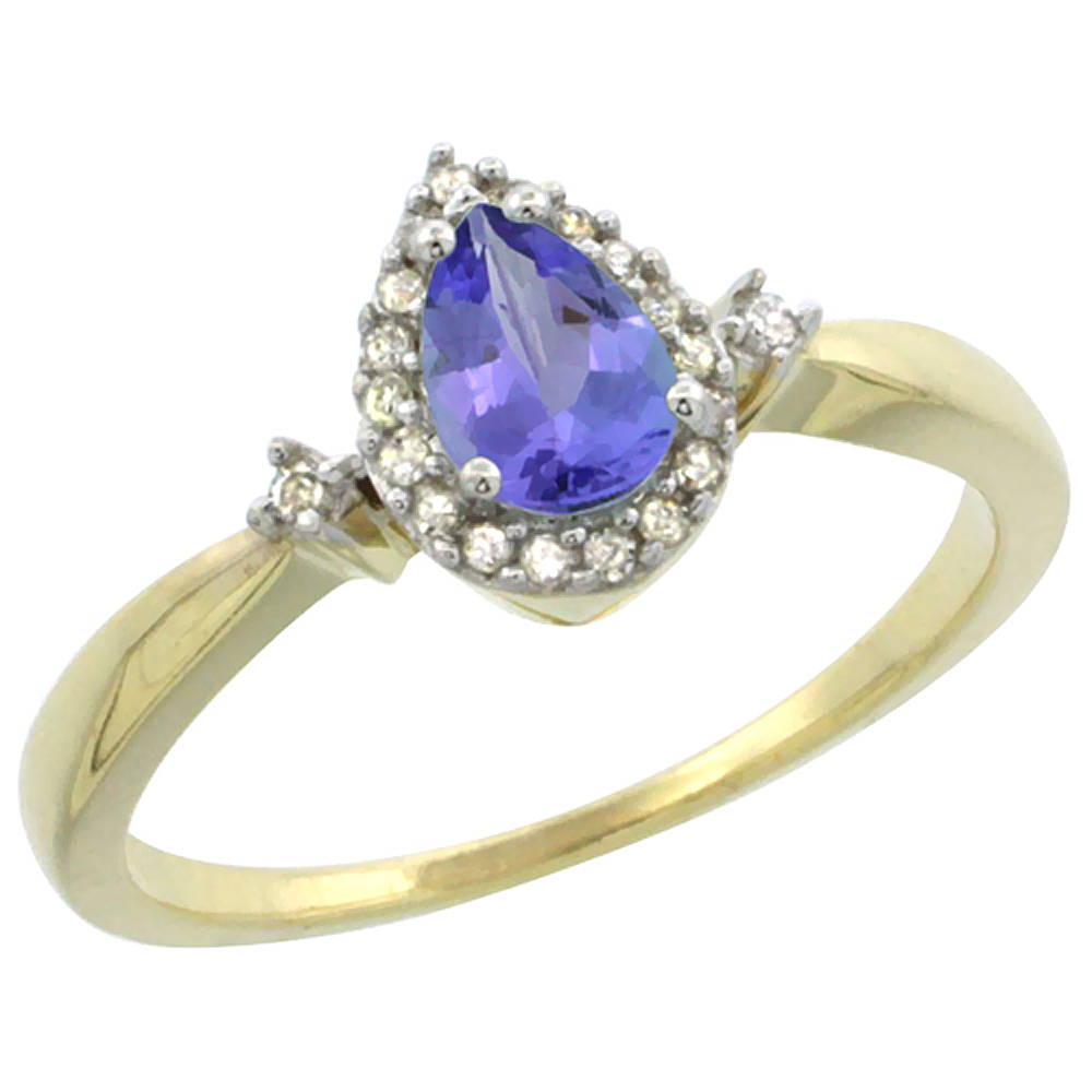 14K Yellow Gold Diamond Natural Tanzanite Ring Pear 6x4mm, sizes 5-10