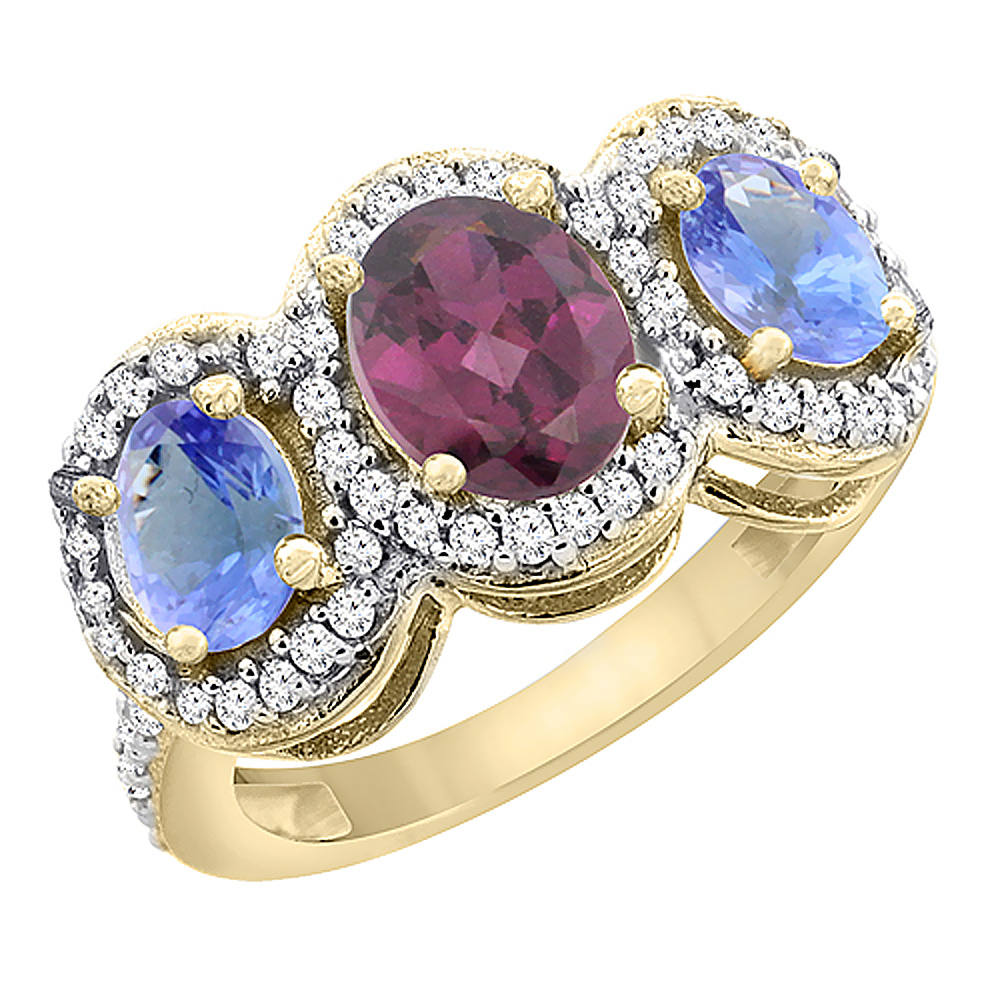 14K Yellow Gold Natural Rhodolite & Tanzanite 3-Stone Ring Oval Diamond Accent, sizes 5 - 10