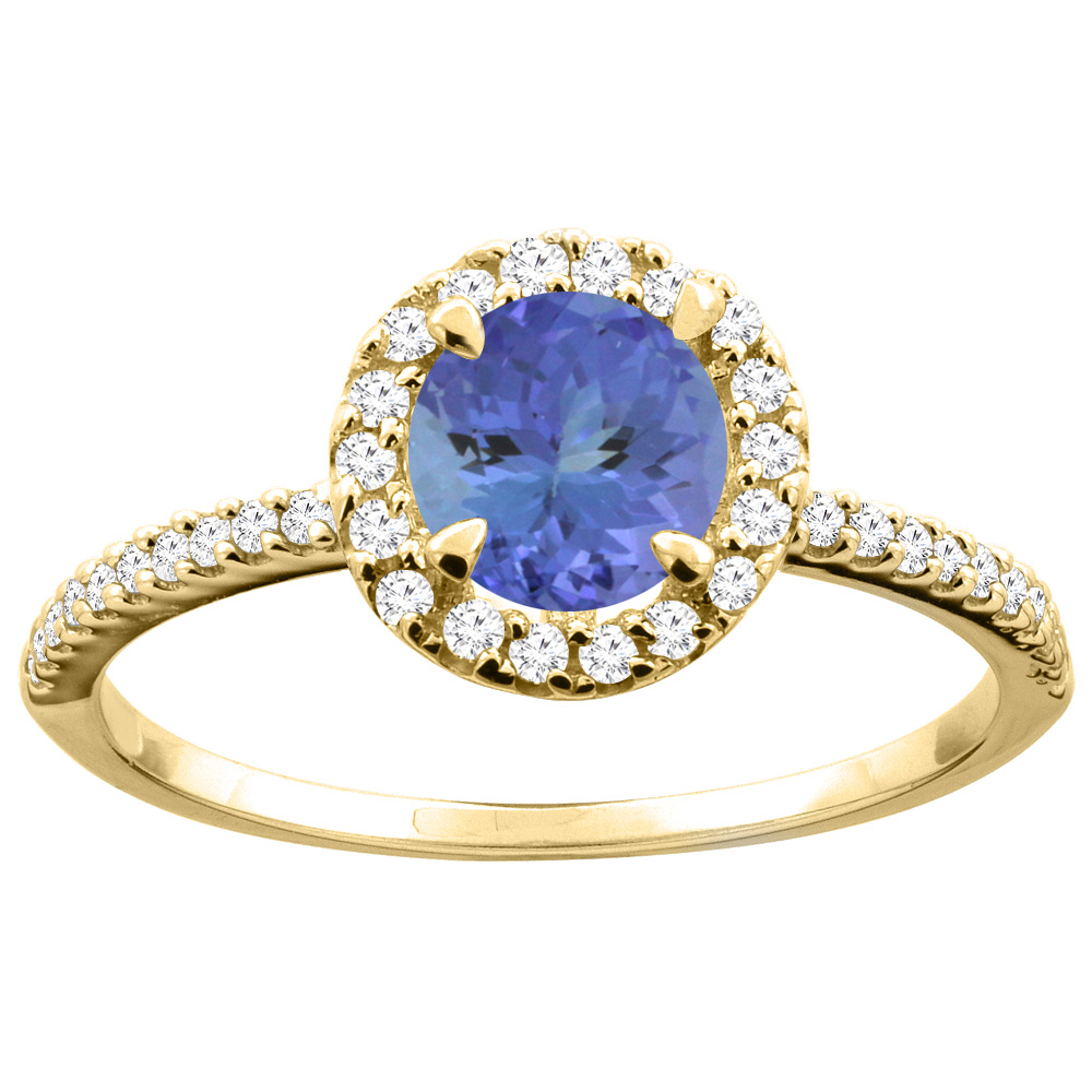 14K Gold Natural Tanzanite Ring Round 6mm Diamond Accents, sizes 5 - 10