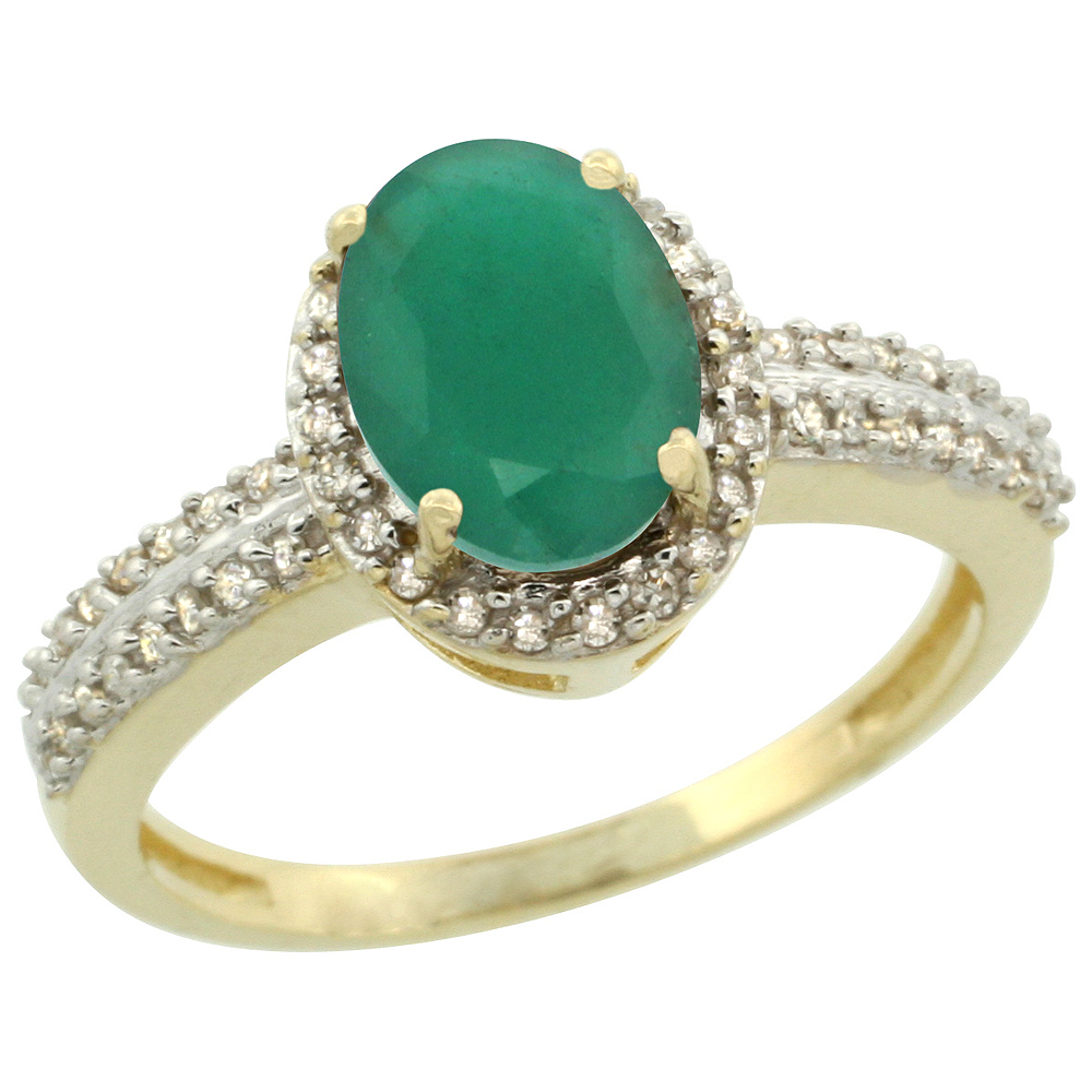 14K Yellow Gold Natural Cabochon Emerald Ring Oval 8x6mm Diamond Halo, sizes 5-10