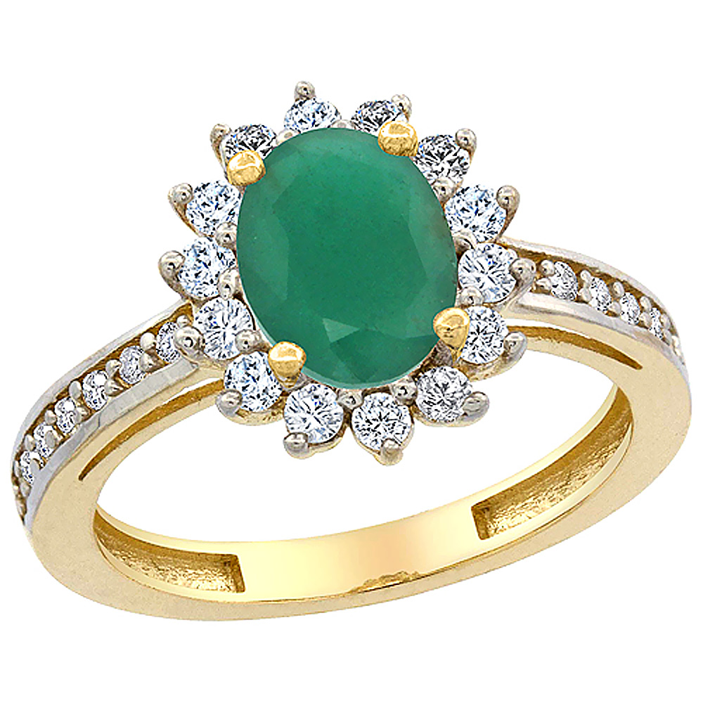 14K Yellow Gold Natural Cabochon Emerald Floral Halo Ring Oval 8x6mm Diamond Accents, sizes 5 - 10