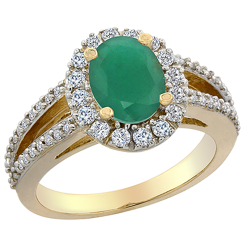 10K Yellow Gold Natural Cabochon Emerald Halo Ring Oval 8x6 mm with Diamond Accents, sizes 5 - 10