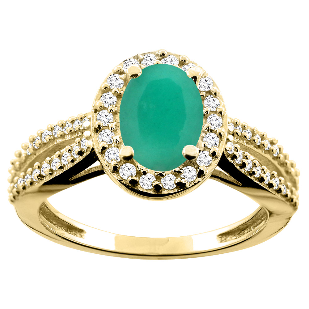 14K White/Yellow/Rose Gold Natural Cabochon Emerald Ring Oval 8x6mm Diamond Accent, size 5