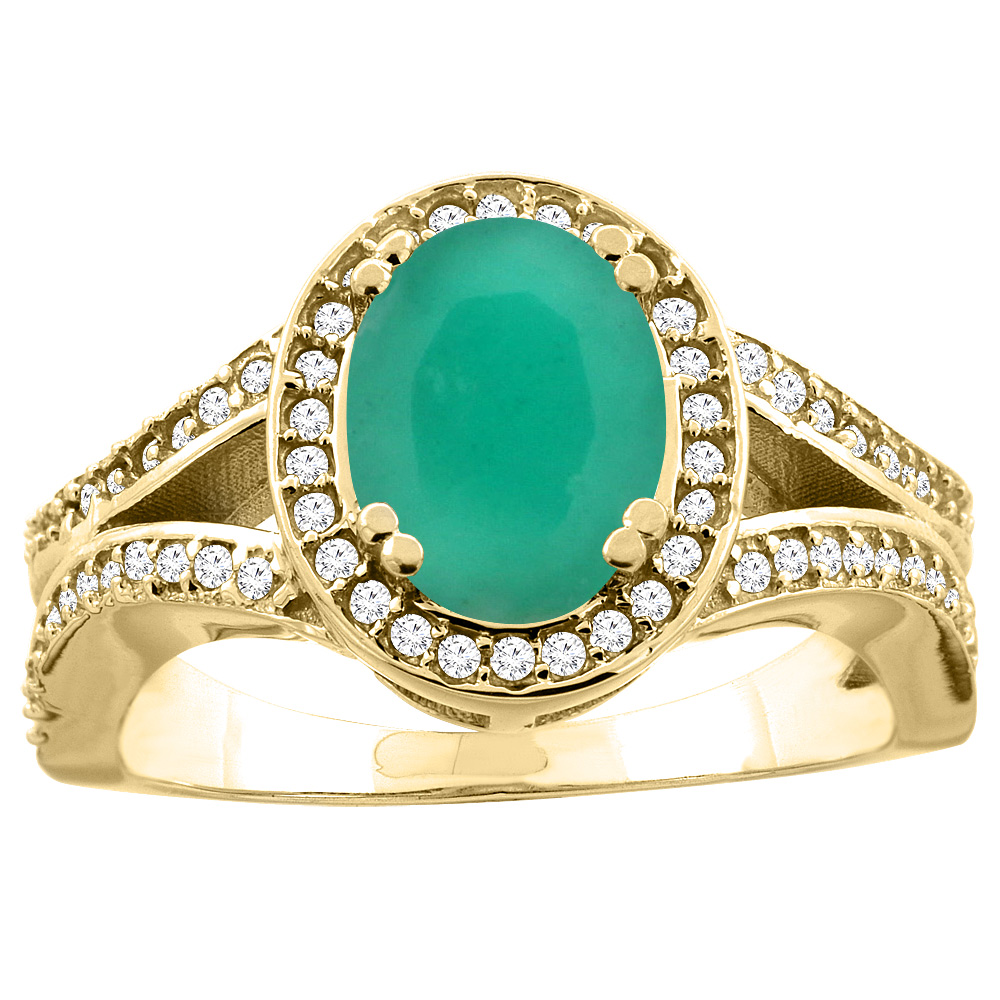 14K White/Yellow Gold Natural Cabochon Emerald Split Ring Oval 8x6mm Diamond Accent, sizes 5 - 10