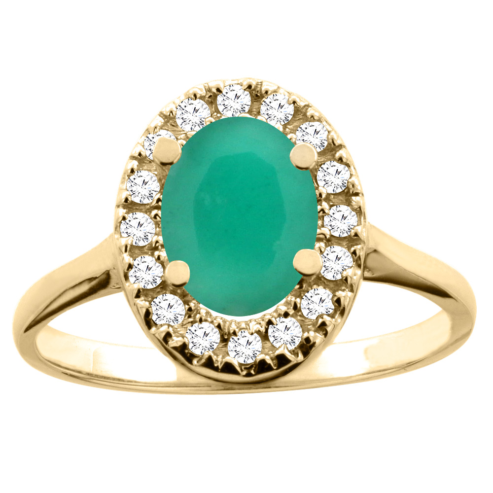 10K White/Yellow Gold Natural Cabochon Emerald Ring Oval 8x6mm Diamond Accent, sizes 5 - 10