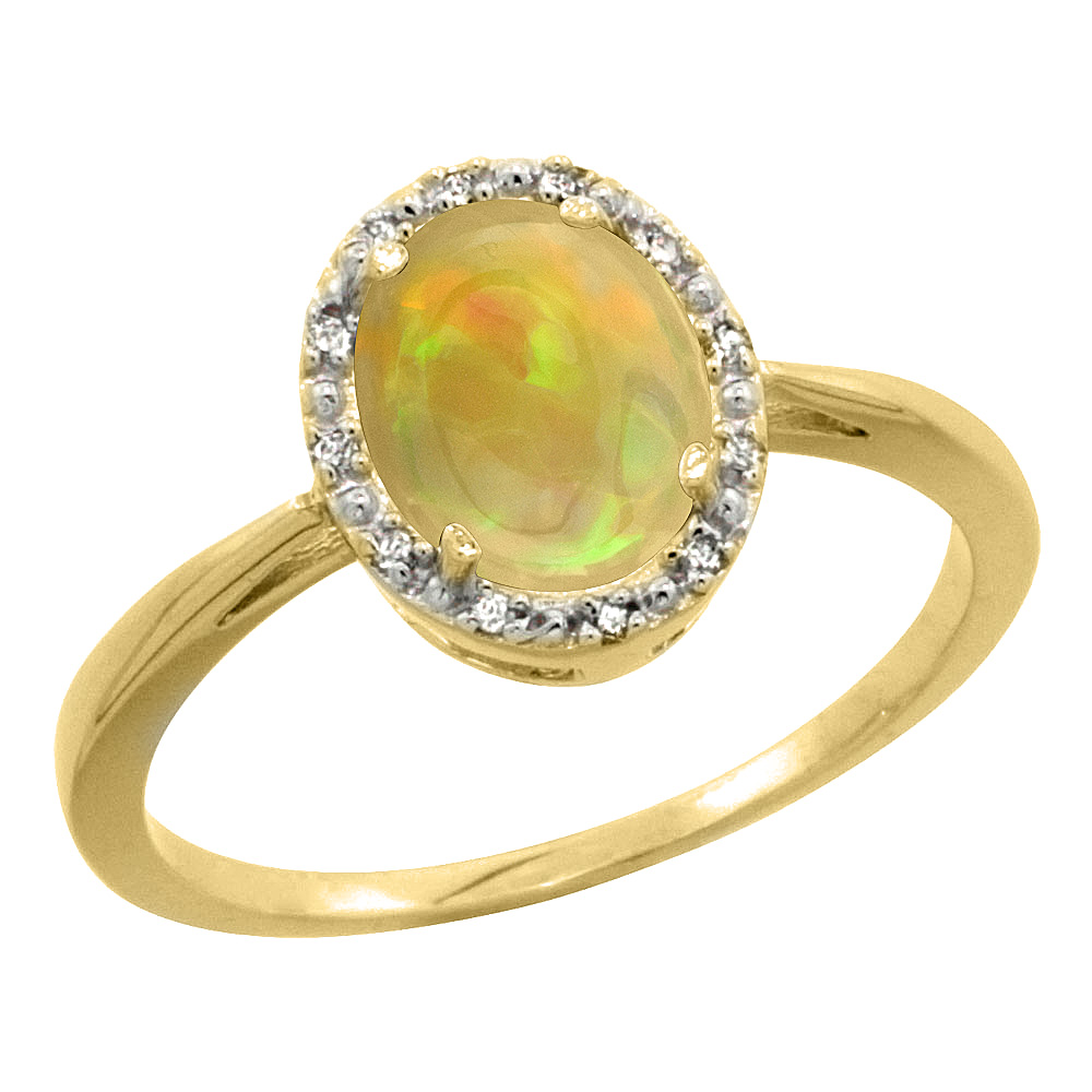 14K Yellow Gold Diamond Halo Natural Ethiopian Opal Engagement Ring Oval 8x6 mm, size 5-10