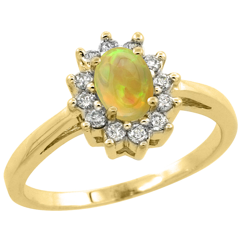 14K Yellow Gold Natural Ethiopian Opal Flower Diamond Halo Ring Oval 6x4 mm, sizes 5 10