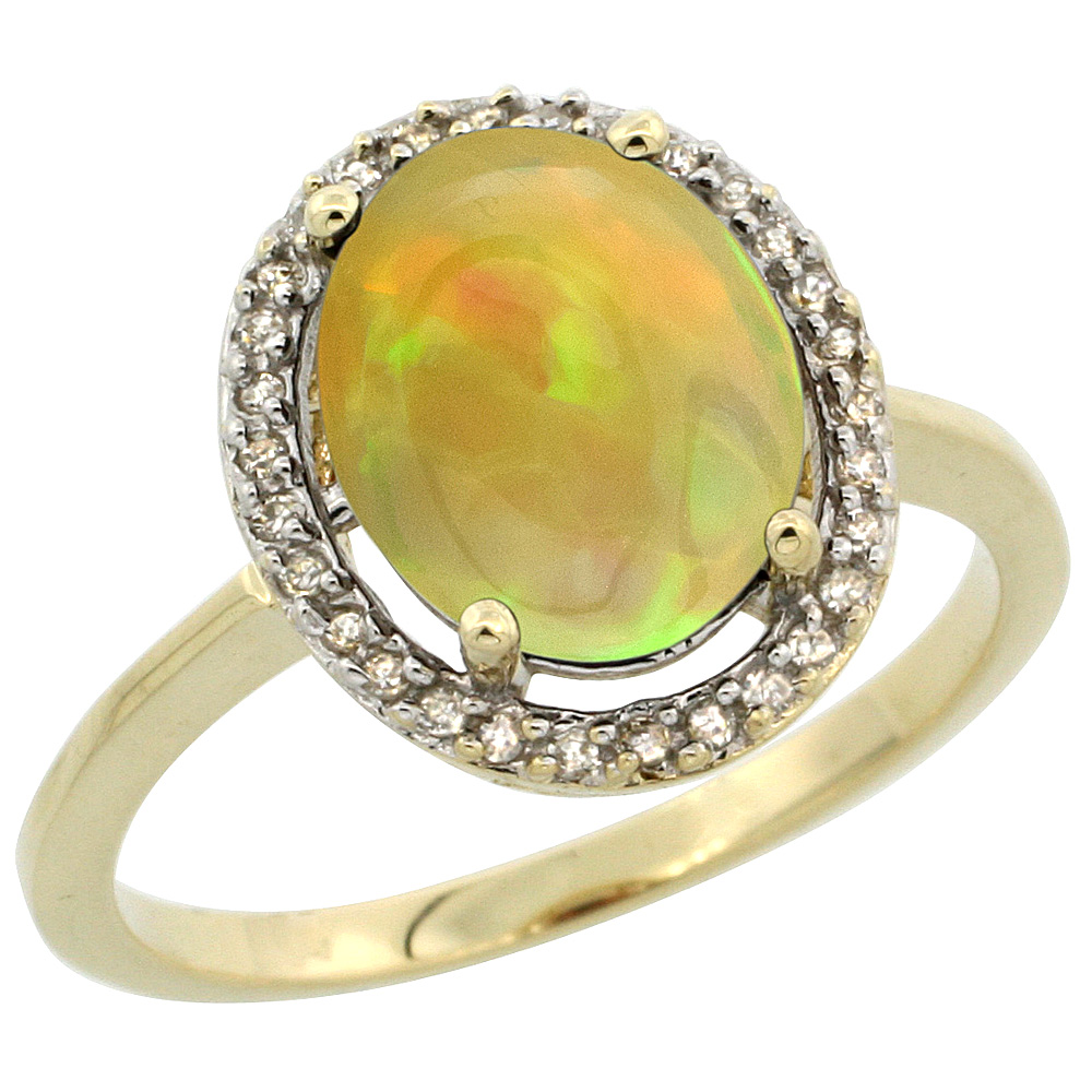 10K Yellow Gold Diamond Halo Natural Ethiopian Opal Engagement Ring Oval 10x8 mm, size 5-10