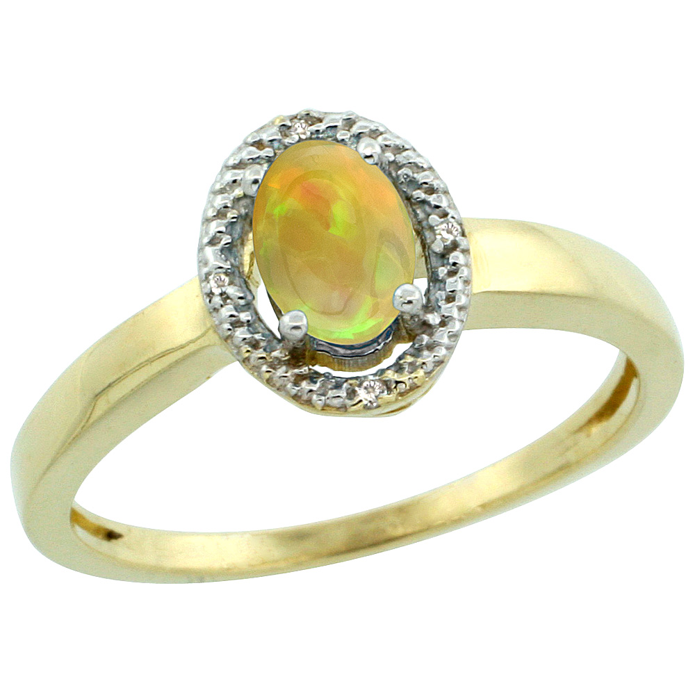 10K Yellow Gold Diamond Halo Natural Ethiopian Opal Engagement Ring Oval 6x4 mm, size 5-10