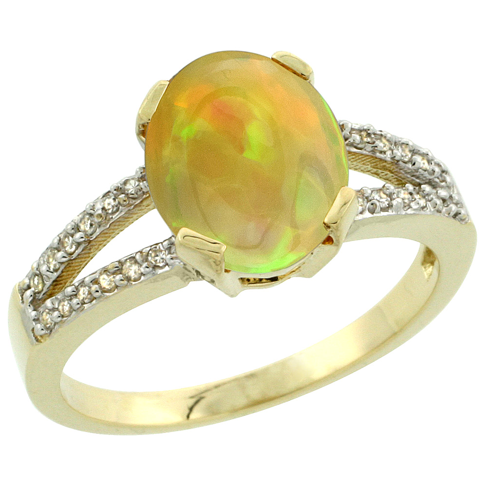 14K Yellow Gold Diamond Natural Ethiopian Opal Engagement Ring Oval 10x8mm, size 5-10