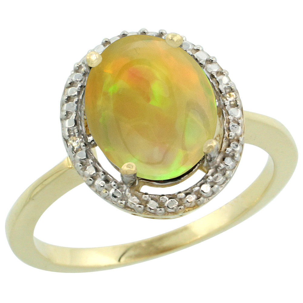 14K Yellow Gold Diamond Natural Ethiopian HQ Opal Engagement Ring Oval 10x8mm, sizes 5-10