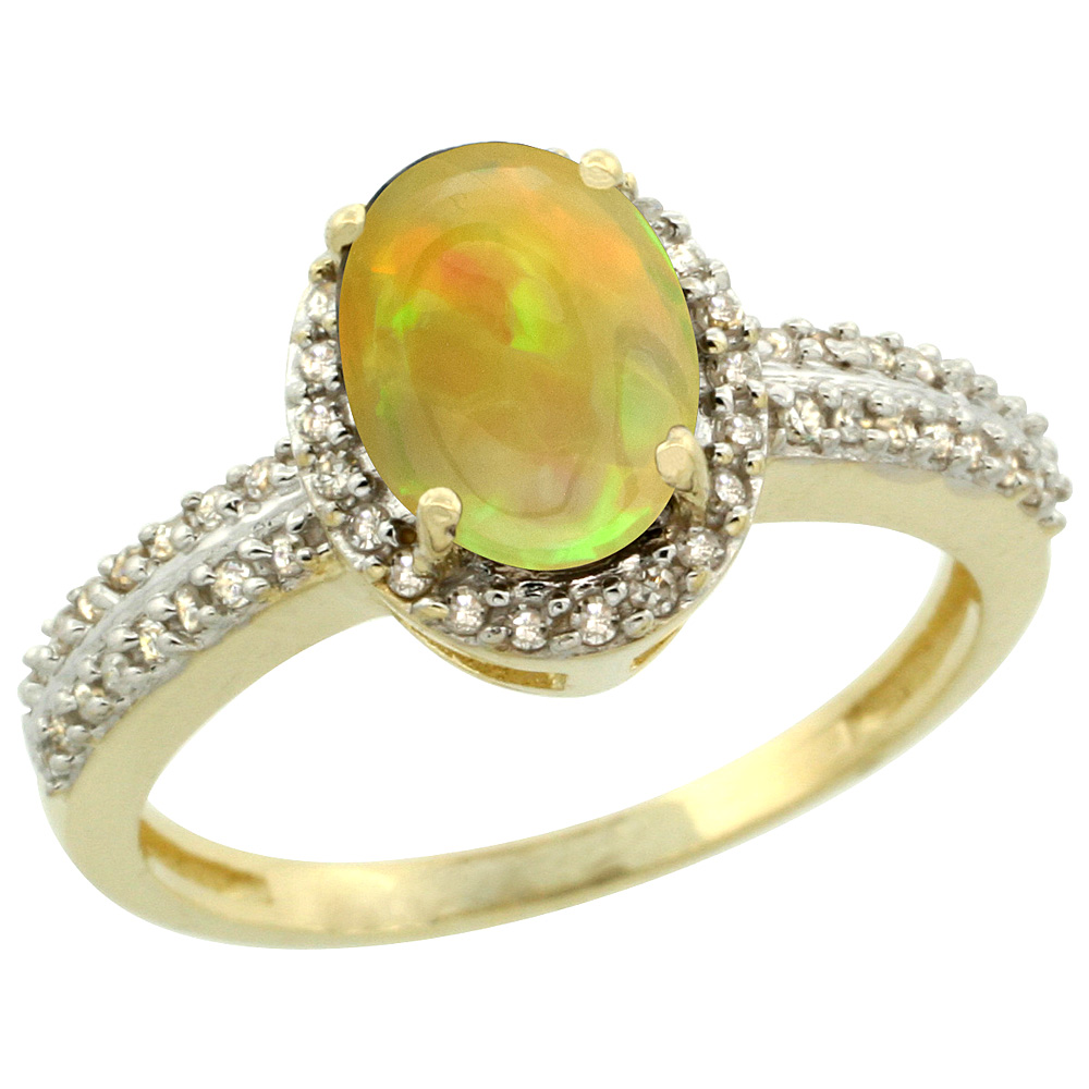 14K Yellow Gold Diamond Halo Natural Ethiopian Opal Engagement Ring Oval 8x6mm, size 5-10