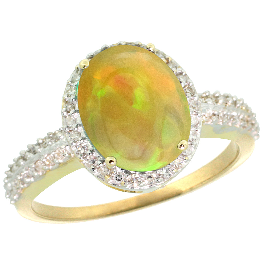 10K Yellow Gold Diamond Natural Ethiopian HQ Opal Engagement Ring Oval 10x8mm, sizes 5-10