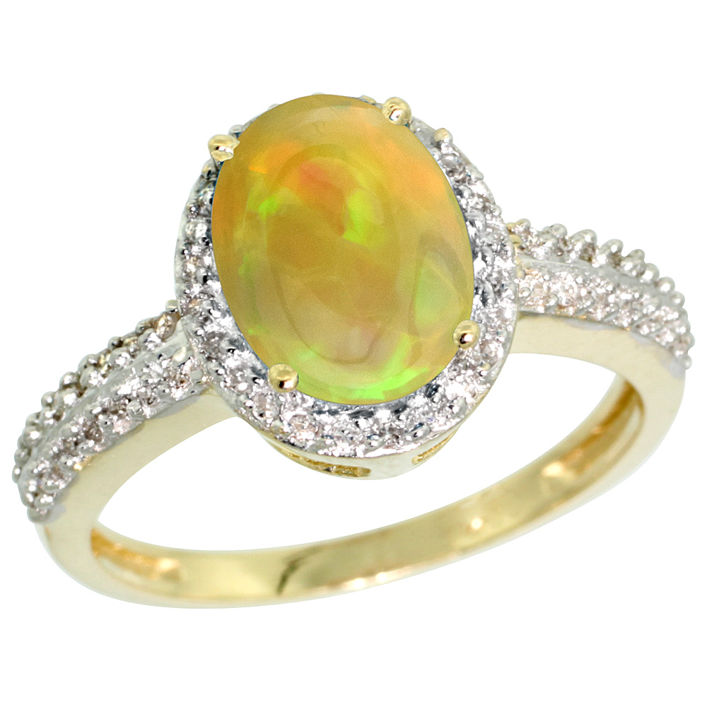10K Yellow Gold Diamond Natural Ethiopian Opal Engagement Ring Oval 9x7mm, sizes 5-10