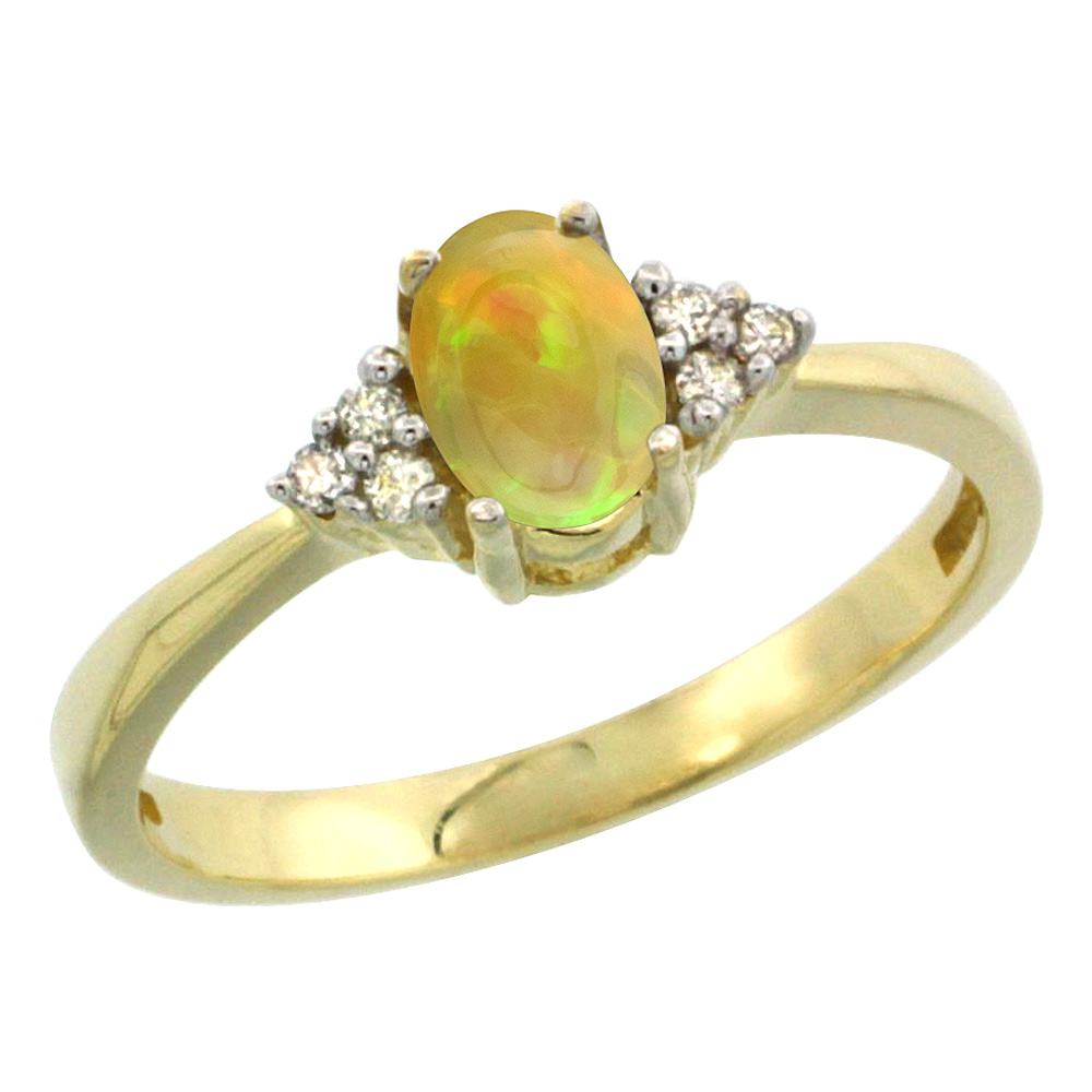 14K Yellow Gold Diamond Natural Ethiopian Opal Engagement Ring Oval 6x4mm, size 5-10