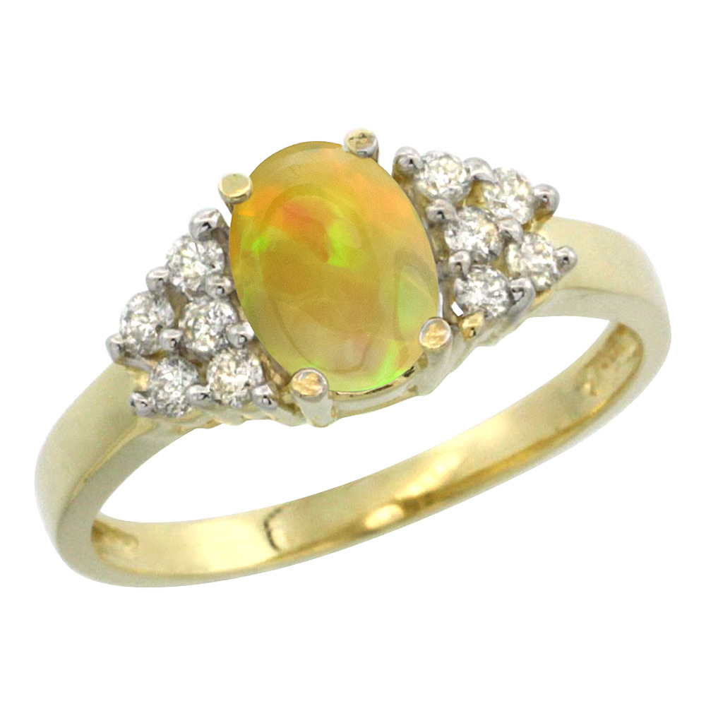 14K Yellow Gold Diamond Natural Ethiopian Opal Engagement Ring Oval 8x6mm, size 5-10