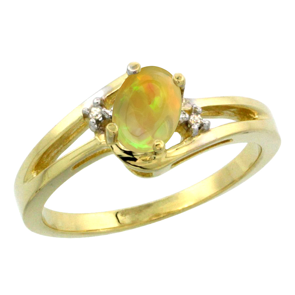 10K Yellow Gold Diamond Natural Ethiopian Opal Engagement Ring Oval 6x4 mm, size 5-10