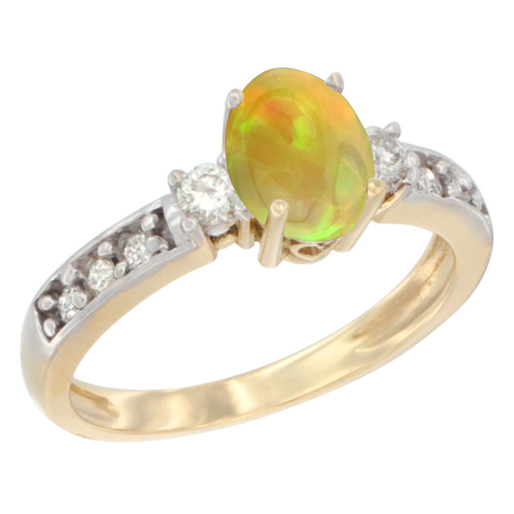 10k Yellow Gold Diamond Natural Ethiopian Opal Engagement Ring Oval 7x5 mm, size 5 - 10