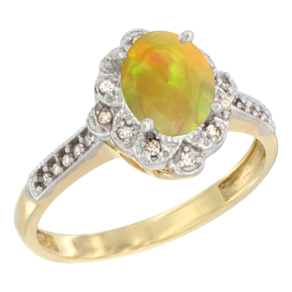 14K Yellow Gold Diamond Natural Ethiopian Opal Engagement Ring Oval 8x6 mm, size 5 - 10