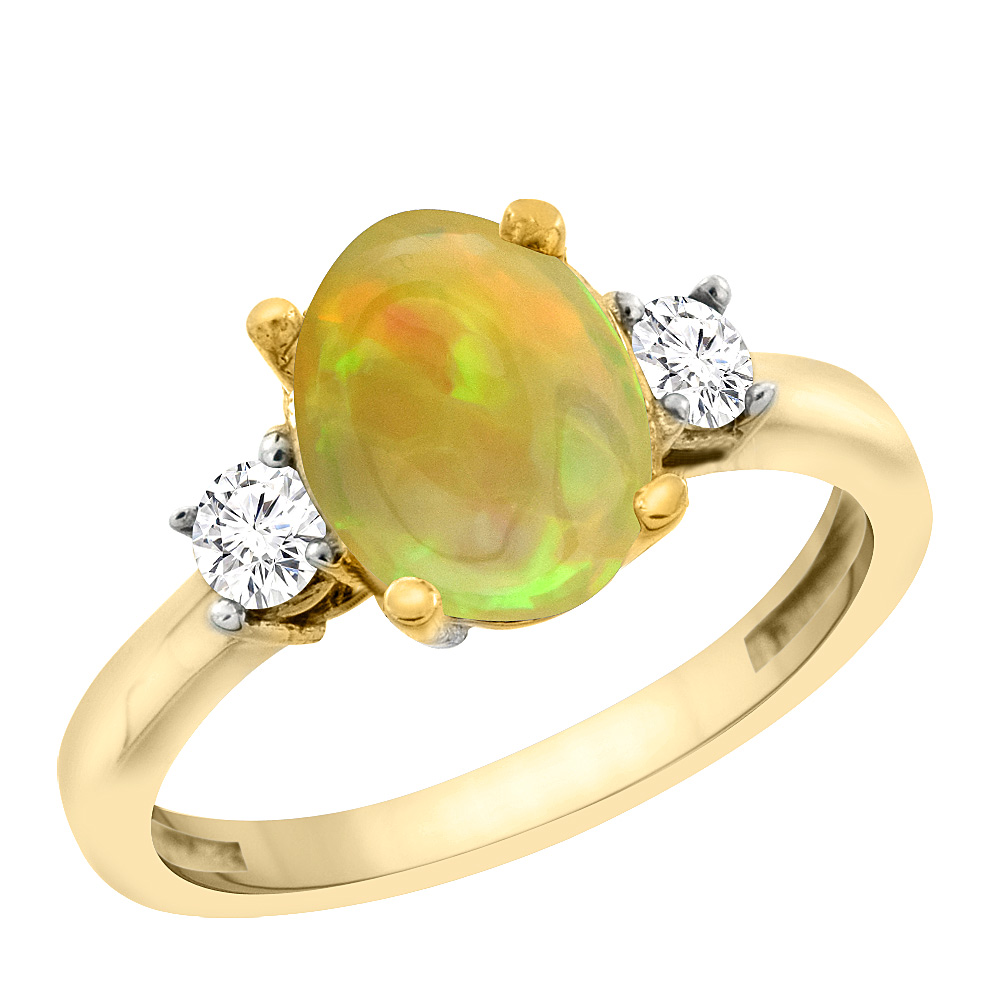 14K Yellow Gold Natural Ethiopian Opal Engagement Ring Oval 10x8 mm Diamond Sides, size5-10