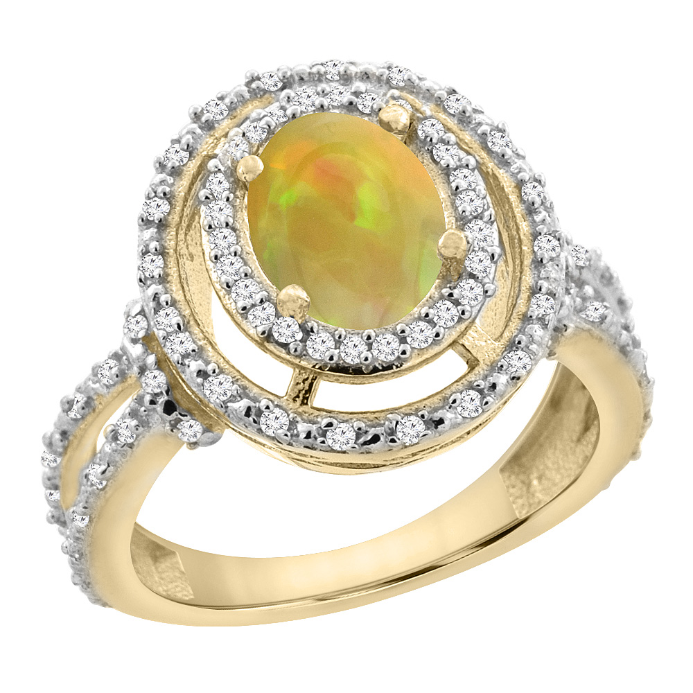 14K Yellow Gold Diamond Halo Natural Ethiopian Opal Engagement Ring Oval 8x6 mm, size 5 - 10