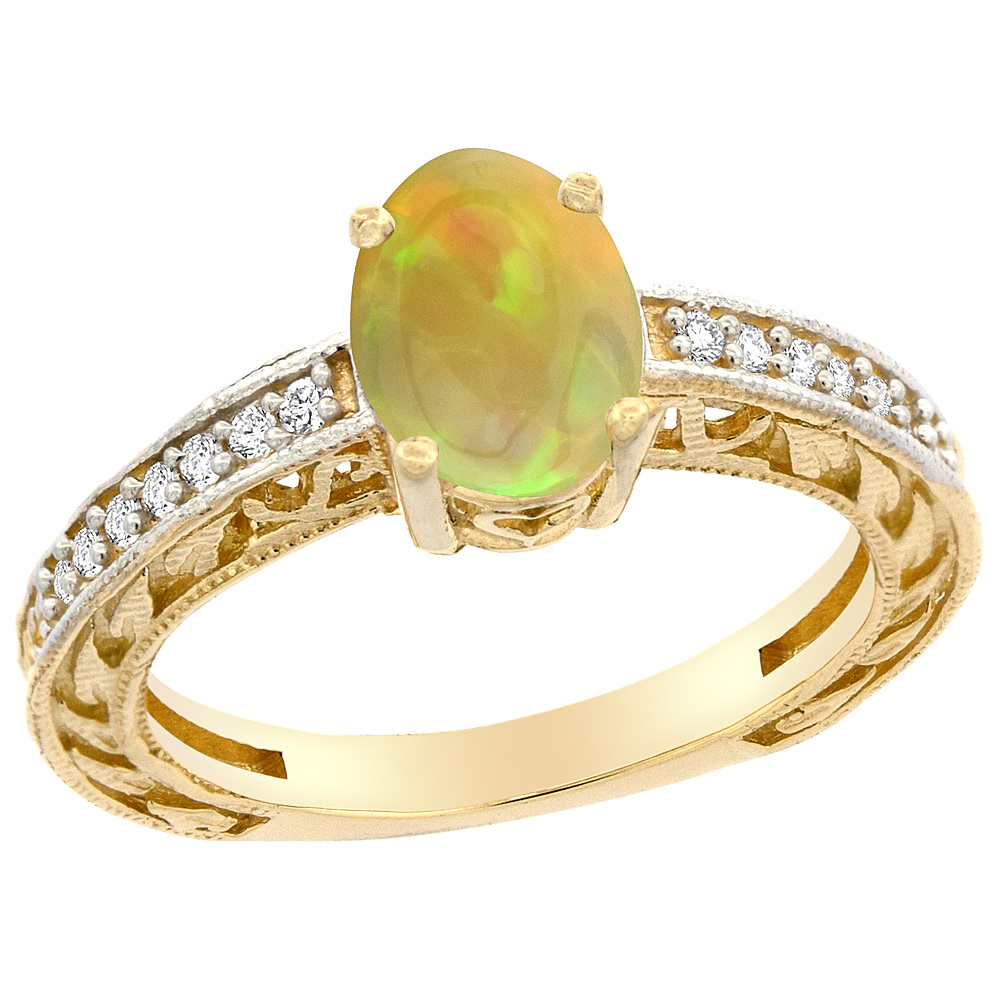 14K Gold Diamond Natural Ethiopian Opal Engagement Ring Oval 8x6 mm, size 5 - 10