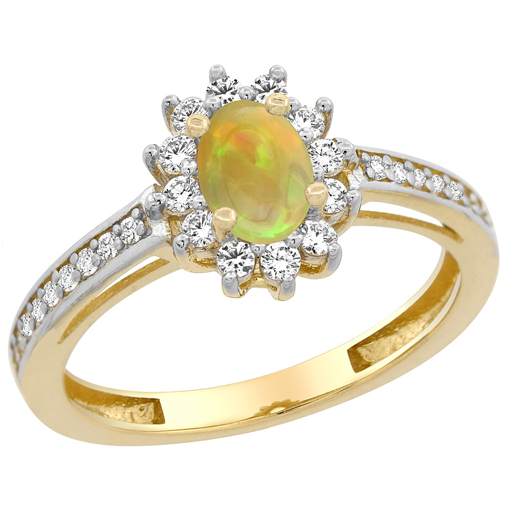 14K Yellow Gold Diamond Halo Natural Ethiopian Opal Engagement Ring Oval 6x4 mm, size 5 - 10