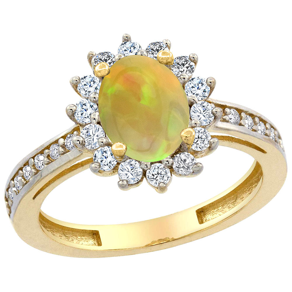 14K Yellow Gold Diamond Halo Natural Ethiopian Opal Engagement Ring Oval 8x6mm, size 5 - 10