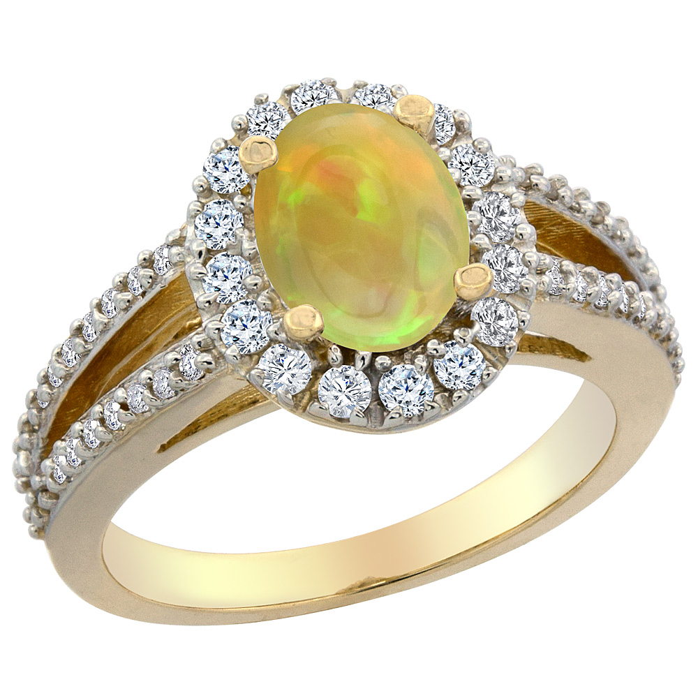 14K Yellow Gold Diamond Natural Ethiopian Opal Halo Engagement Ring Oval 8x6 mm, size 5 - 10