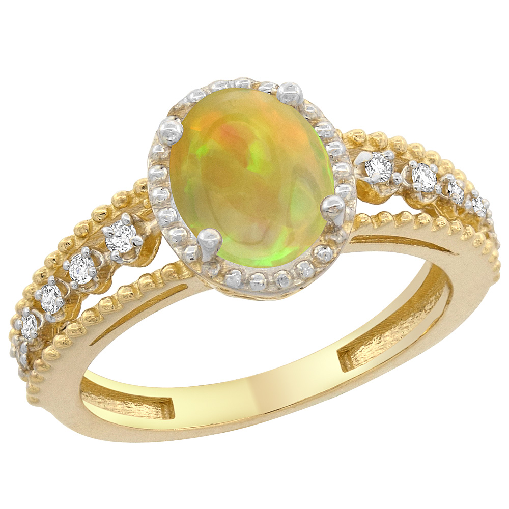 10K Yellow Gold Diamond Natural Ethiopian HQ Opal Engagement Ring Oval 9x7 mm, sizes 5 - 10