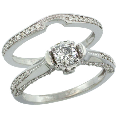 14k White Gold 2-Pc. Diamond Engagement Ring Set w/ 0.41 Carat (Center) & 0.42 Carat (Sides) Brilliant Cut ( H-I Color; SI1 Clarity ) Diamonds, 1/4 in. (6.5mm) wide